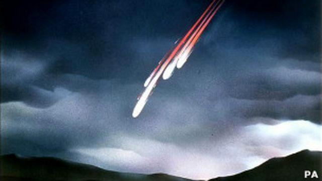 Representación artística de un meteorito. Foto de archivo