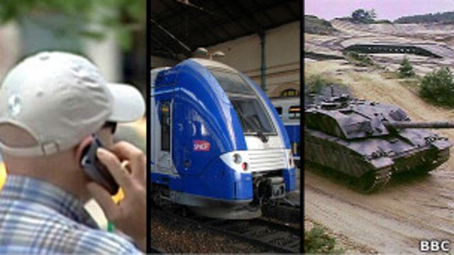 Мобильный телефон, поезд и танк