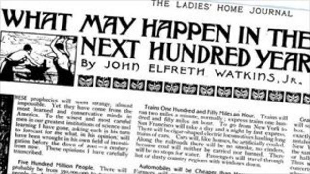 Страница журнала 1900 с предсказаниями Джона Уоткинса