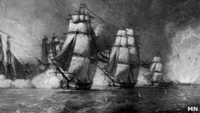 Explosión de la fragata Nuestra Señora de las Mercedes. Dibujo J. Vallejo, Cortesía Museo Naval de Madrid.