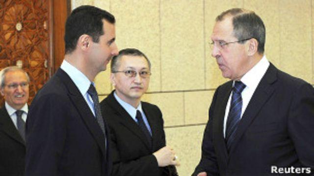 Министр иностранных дел Сергей Лавров встречается с президентом Сирии Башаром Асадом 7 февраля 2012 года