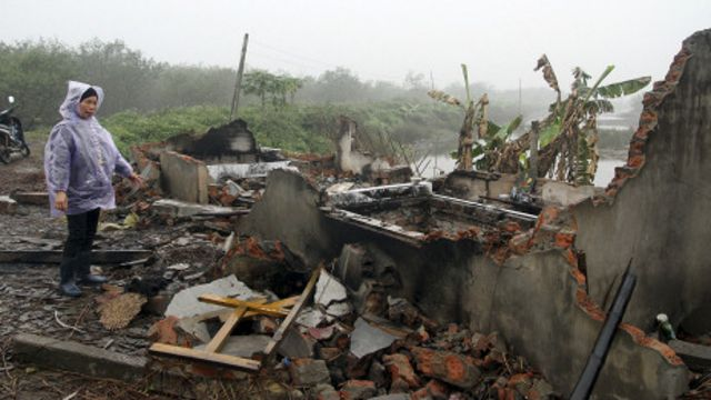 Khu lều của gia đình ông Đoàn Văn Vươn đã bị phá
