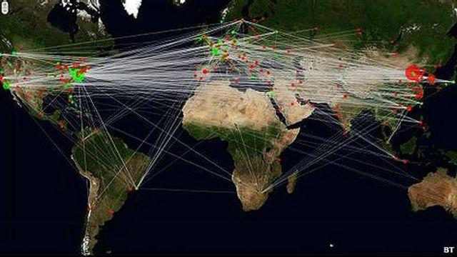 mapa ataques de hackers por origen y destino