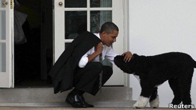 Barack Obama con su perro Bo fuera de la Oficina Oval