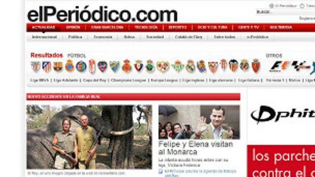 Portada en internet del diario El Periódico