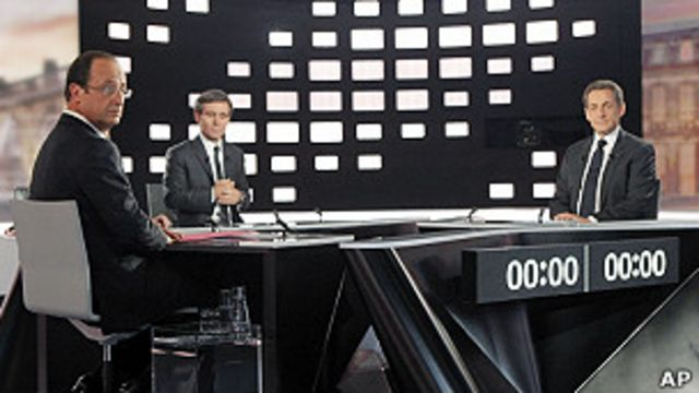 Саркози и Олланд на дебатах
