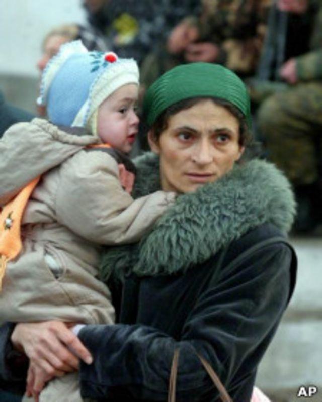 Чеченские беженцы в станице Слепцовская в 1999 году