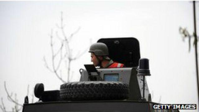 Турецкая бронемашина на границе с Сирией