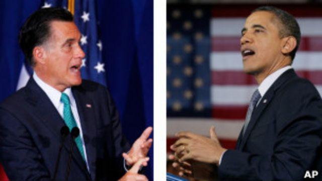 Mitt Romney (trái) đang dẫn trước Tổng thống Obama về tiền quyên góp