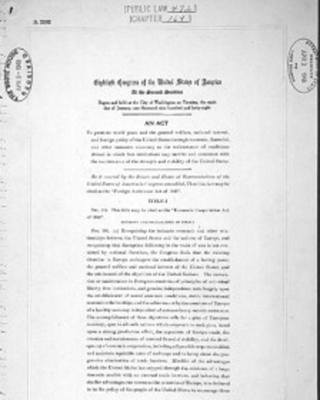 """Первая страница закона США """"Об экономическом сотрудничестве"""""""