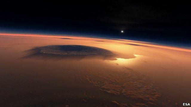 Панорама Марса с вулканом