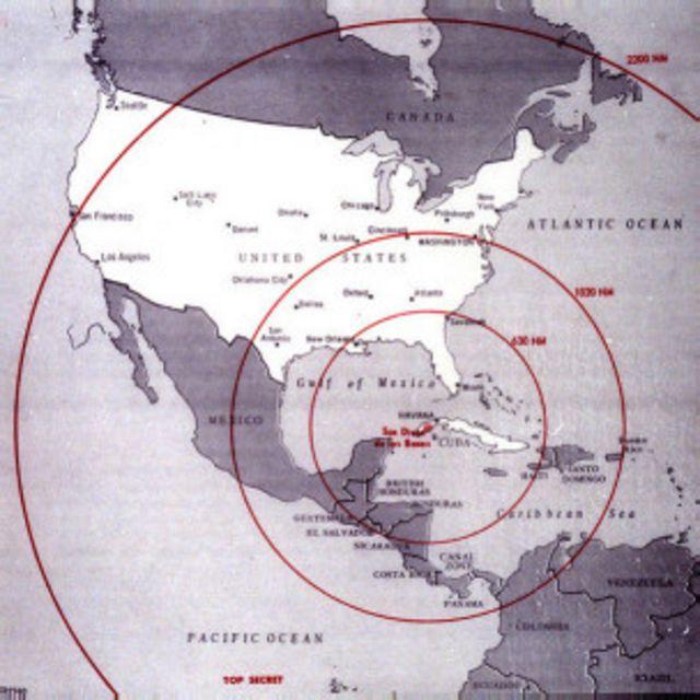 Радиусы действия советсикх ракет, дислоцированных на Кубе во время Карибского кризиса