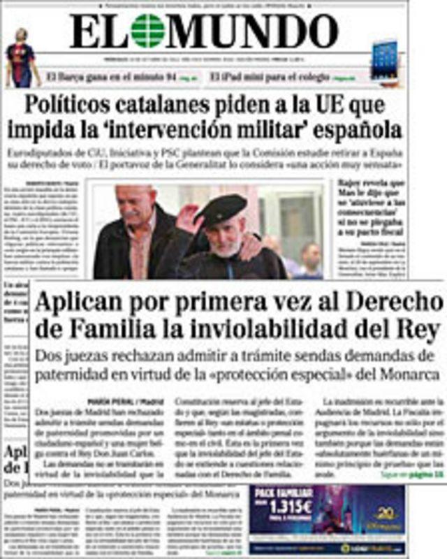 Portada del periódico El Mundo