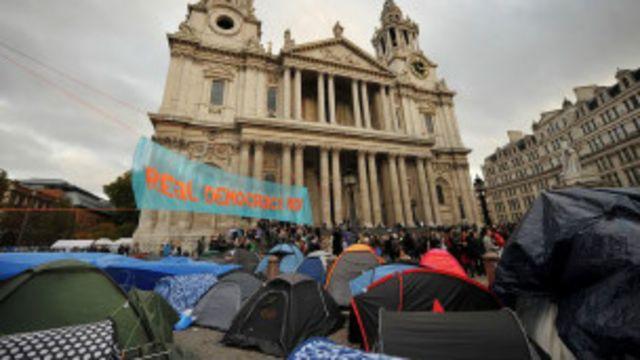 Acampamento do Occupy em Londres, em 2011. | Foto: AFP