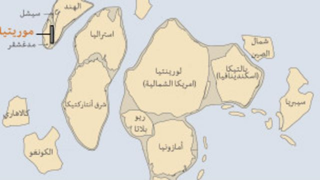 خريطة توضح الشكل الافتراضي للعالم في السابق