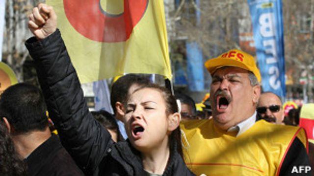 Protesta de sindicalistas en Turquía (archivo)