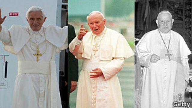 Los papas Benedicto XVI, Juan Pablo II y Juan XXIII