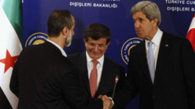 အမေရိကန်နိုင်ငံခြားရေး ဝန်ကြီးက ဆီးရီးယား အတိုက်အခံကို တွေ့ဆုံစဉ်
