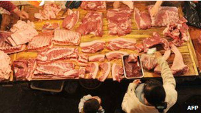 Carne exhibida en China