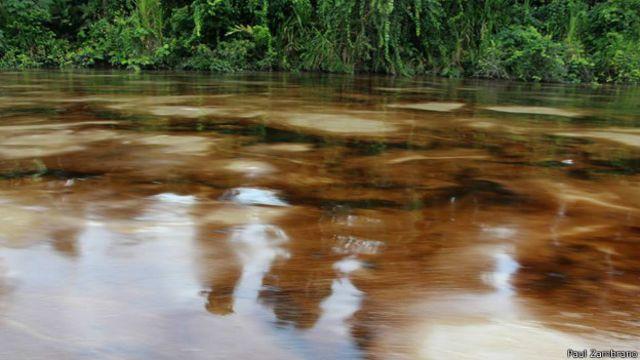 Imagen de la mancha sobre el Río Napo tomada por el guía turístico Paul Zambrano.