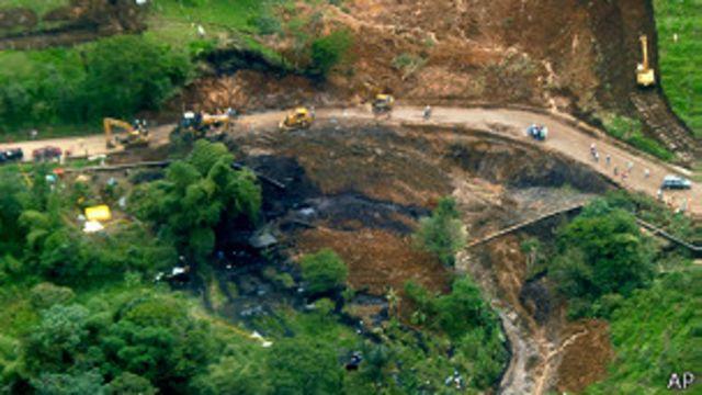 Vista aérea del derrame del 31 de mayo en la provincia de Sucumbíos.