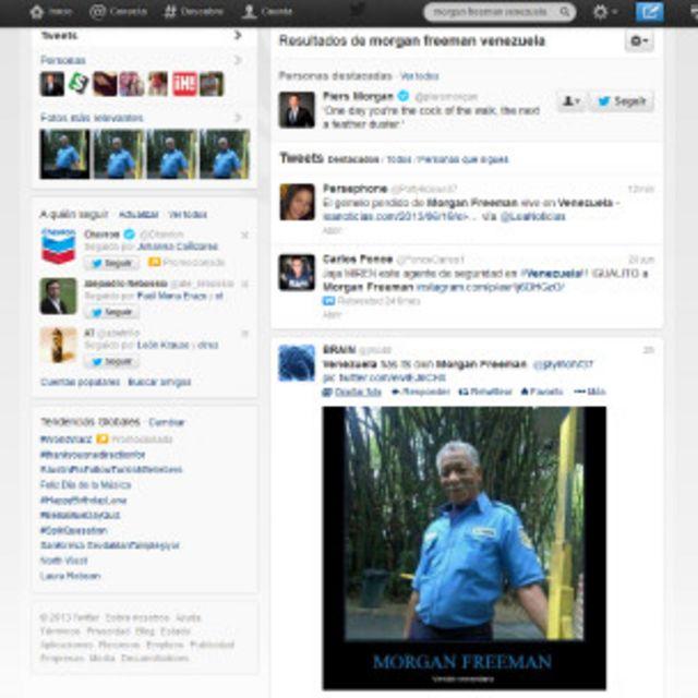 Pantallazo de Twitter con alusiones al Morgan Freeman venezolano