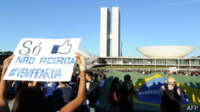 Manifestantes em Brasília   Foto: AFP
