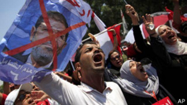 Демонстранты с портретом Мурси