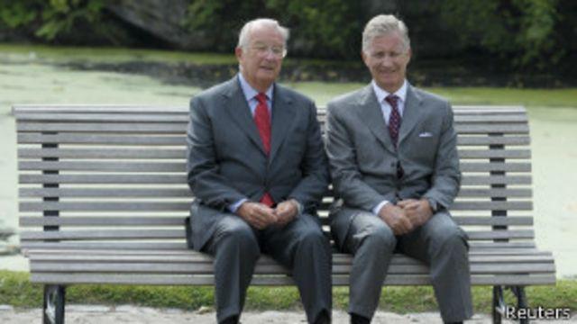 Король Альберт II и его сын принц Филипп