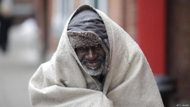 Hombre sin hogar en Detroit