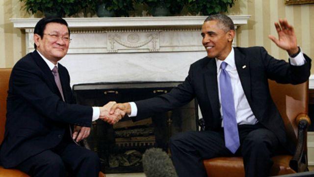 Hai ông Barack Obama và Trương Tấn Sang ở Nhà Trắng hôm 25/7