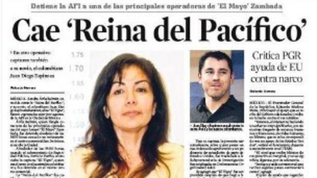 Noticia de la captura de Sandra Ávila.