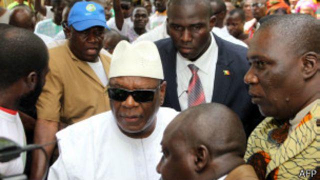 Ibrahim Boubacar Kéita, à son arrivée à son QG de campagne à Bamako, le 4 août 2013