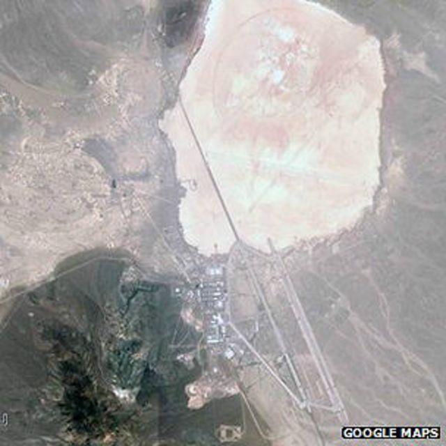 Imagen satelital del lago Groom y el área 51