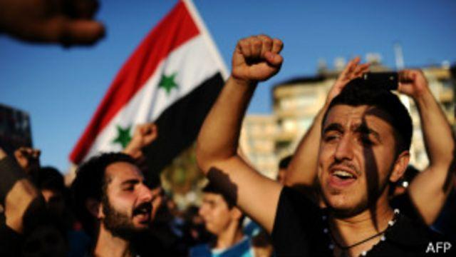 متظاهرون معارضون لشن ضربة عسكرية ضد سوريا