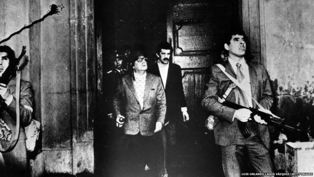 Allende və onun tərəfdarları.Getty
