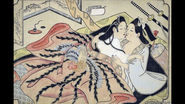 وتظهر أغلب الصور علاقات جنسية بين الرجل والمرأة، ولكن البعض منها يظهر علاقات مثلية.
