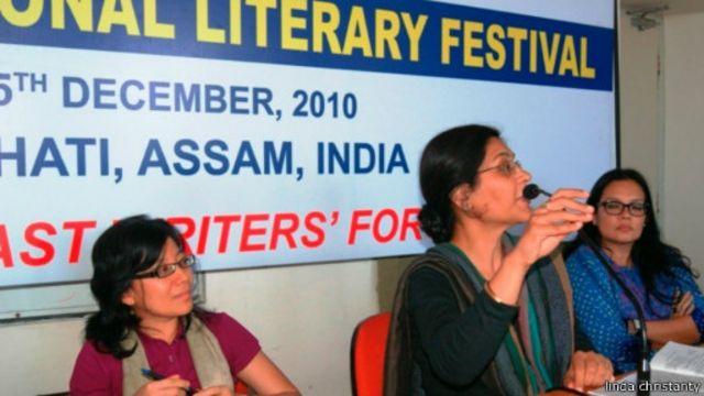 Linda Christanty dalam sebuah acara diskusi tentang sastra di India, 2010.