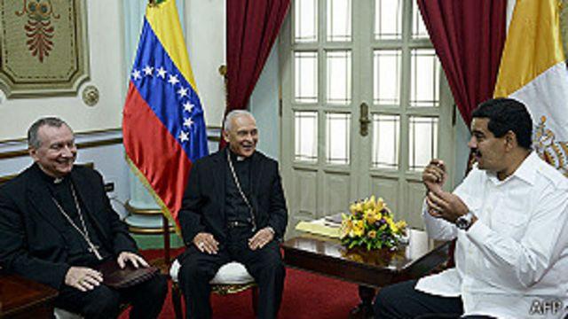 Pietro Parolin, Diego Padrón y Nicolás Maduro