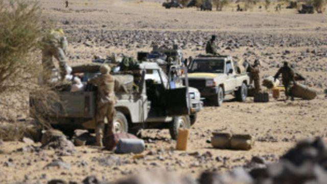 Troupes tchadiennes, à Tessalit au Mali, le 14/03/2013