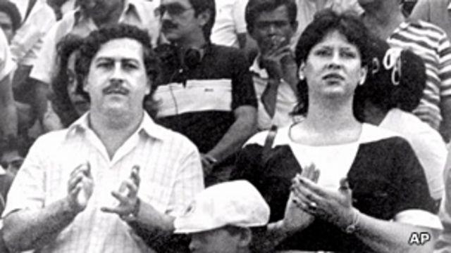 Pablo Escobar y su esposa.