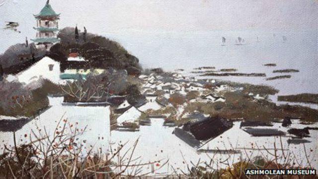 吳冠中所繪的無錫和太湖(1973)