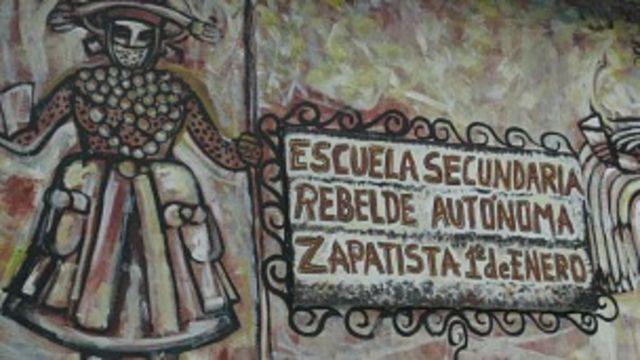 Escuela zapatista en el Caracol de Oventic, en Chiapas.