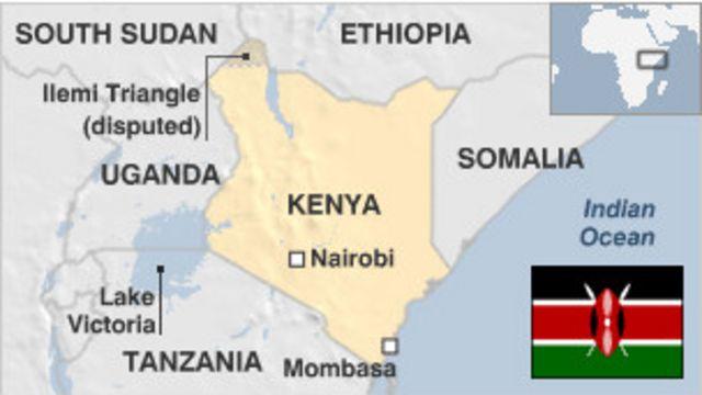 Ramani ya Kenya ikionyesha mji wa Mombasa