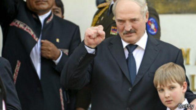 Lukashenko en el funeral de Chávez