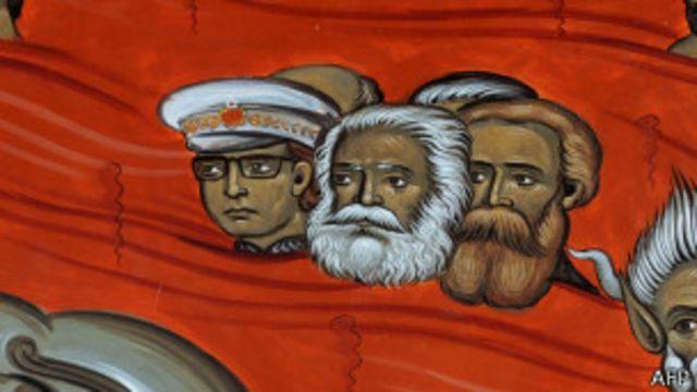 Тито, Маркс, Энгельс на фреске