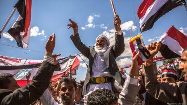 11 مارس 2011: رجل مسن شارك في تظاهرات في ميدان التغيير. عبدالرحمن جابر