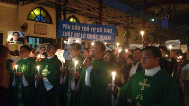 Cầu nguyện hiệp thông với LS Lê Quốc Quân tại Giáo xứ Nghi Lộc, Nghệ An