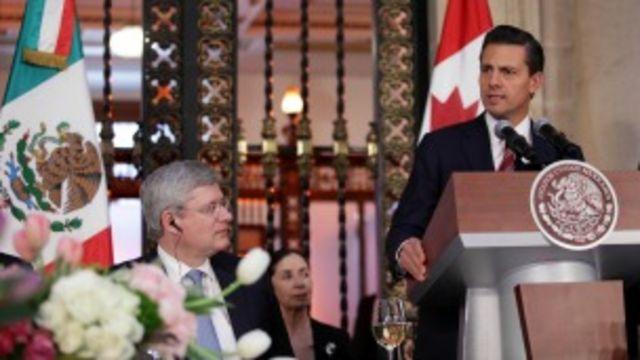 Primer ministro de Canadá, Stephen Harper, y el presidente de México Enrique Peña