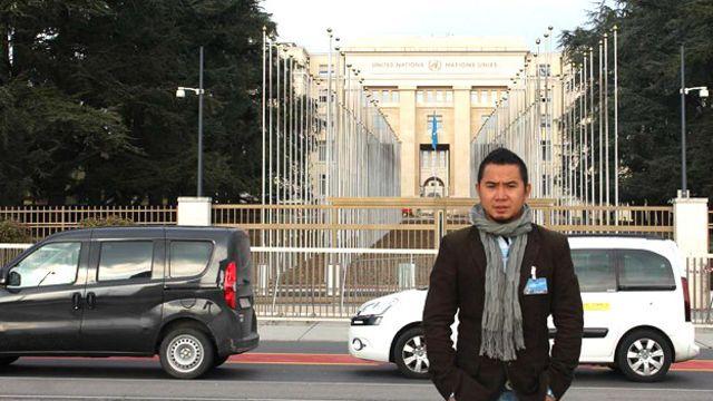 Anh Bùi Tuấn Lâm tại trụ sở Liên Hiệp Quốc ở Geneva